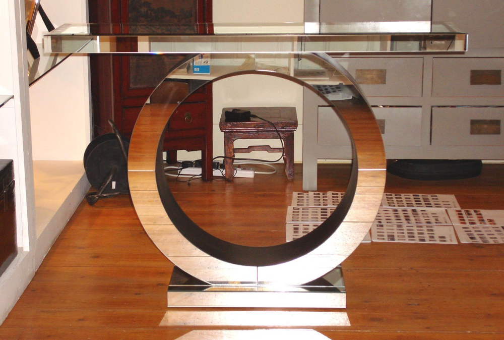 Art Deco Circle Mirrored Console Console Tables