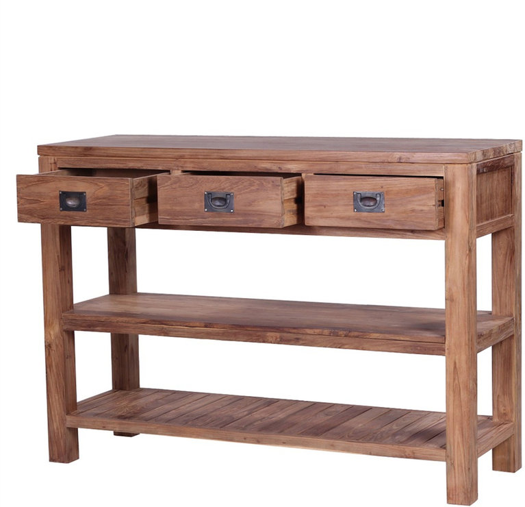 The 39 tanjung 39 reclaimed teak wood console table console for Table console