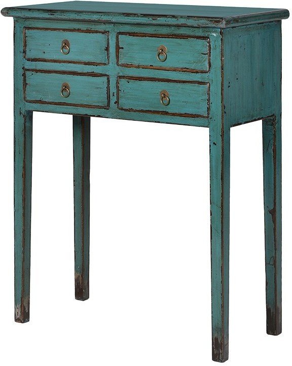 small distressed console table four drawers turquoise elm wood