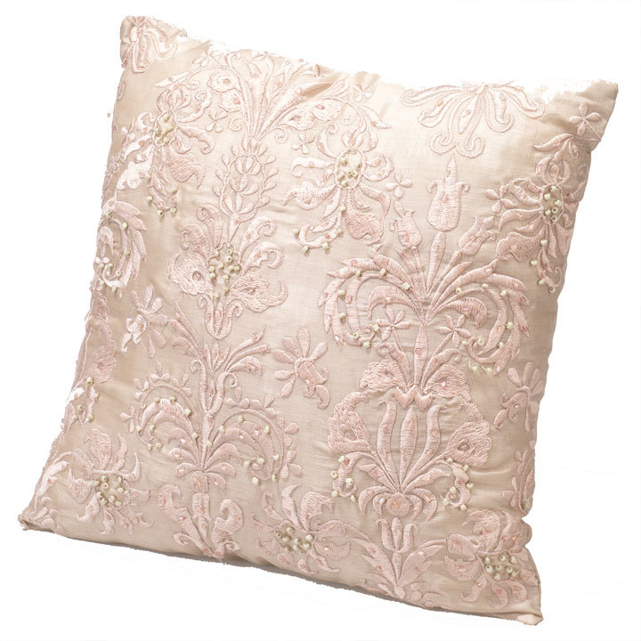 Beaded Cushion In Pink Cushions