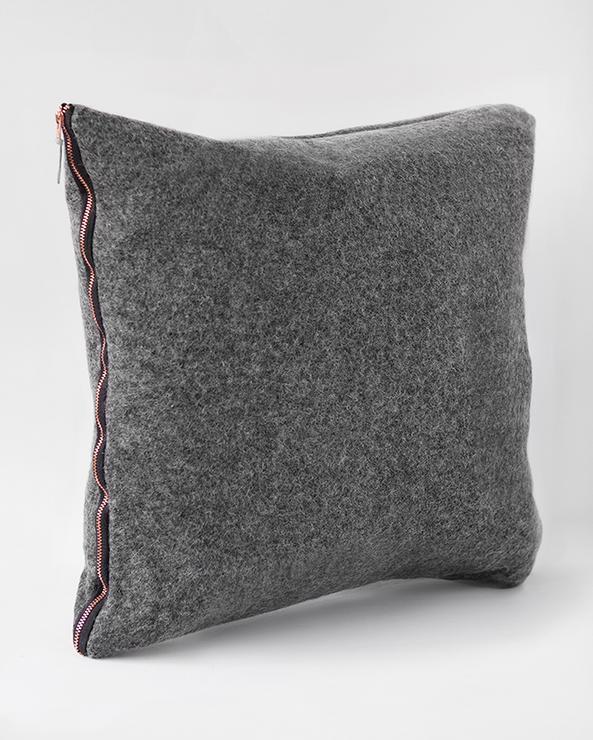 Pure Wool Felt Large Cushion Charcoal Grey Amp Copper