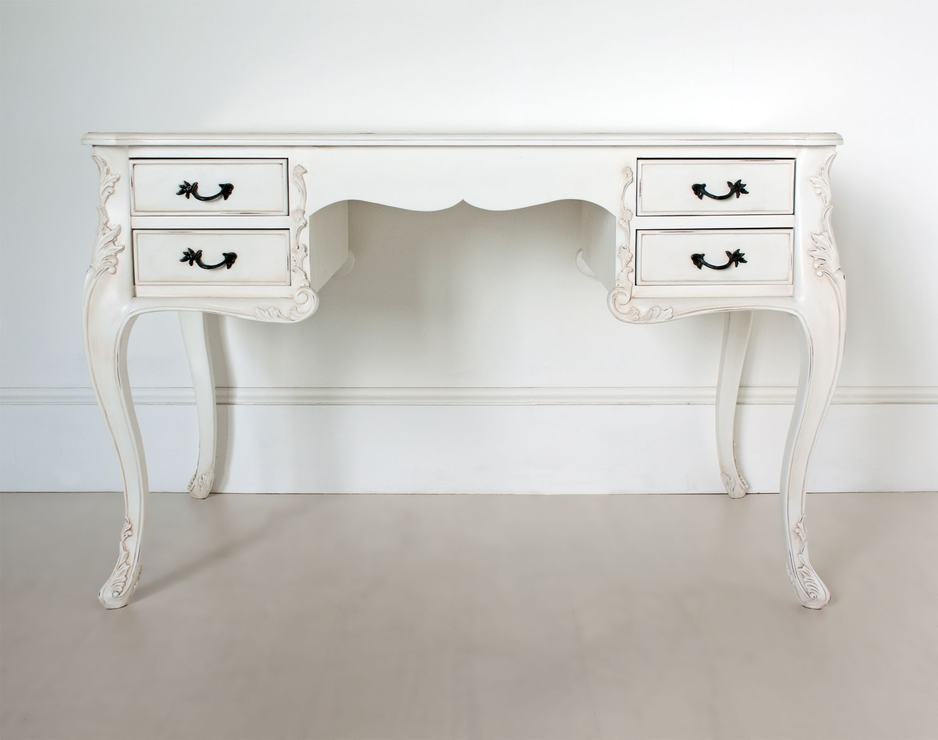 White French Writing Desk With Four Drawers Office Desks