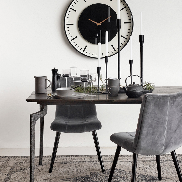 Velvet Button Dining Chair Grey