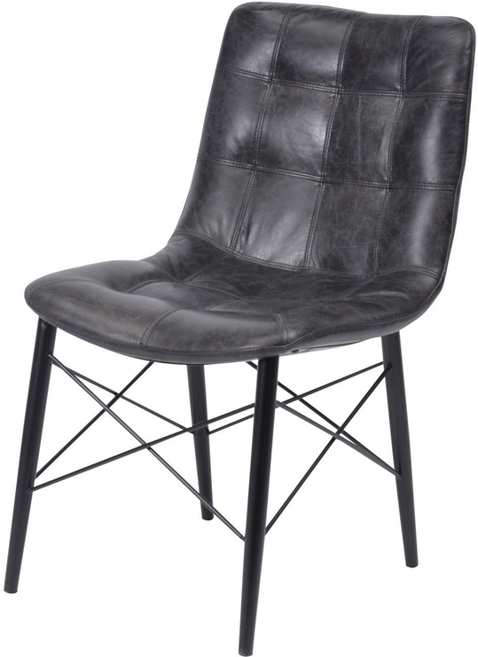 Marlowe Distressed Slate Grey Leather Dining Chair Urban Style