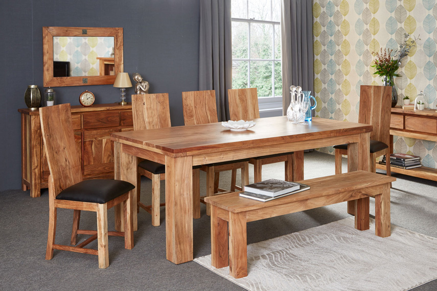 acacia dining table - large rustic with 6 chairs | dining tables