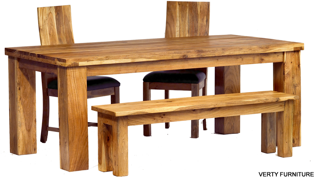 Acacia Dining Table   Large With Bench And 4 Chairs