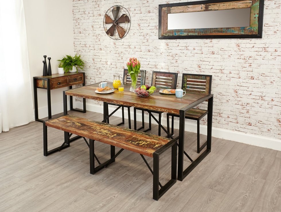 dining room bench table | Shoreditch Rustic Dining Table - Large | Dining tables