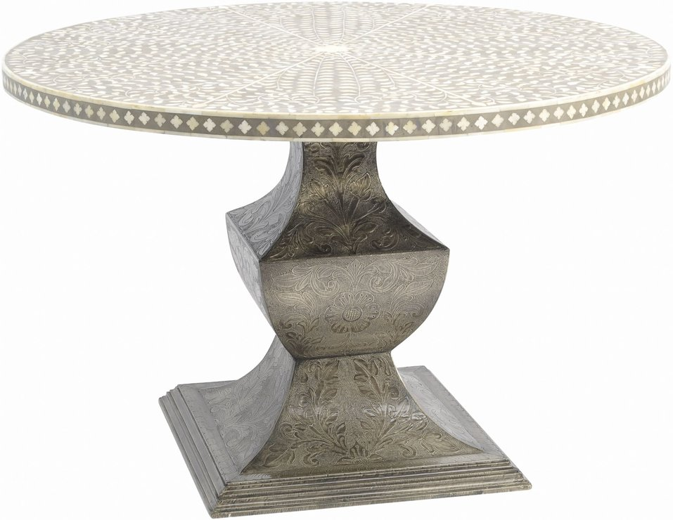 Petals Grey Bone Inlay Dining Table on Metal Base Dining tables