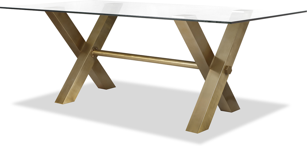 Zaha Brushed Brass Glass Rectangular Dining Table 220x100cm Dining Tables