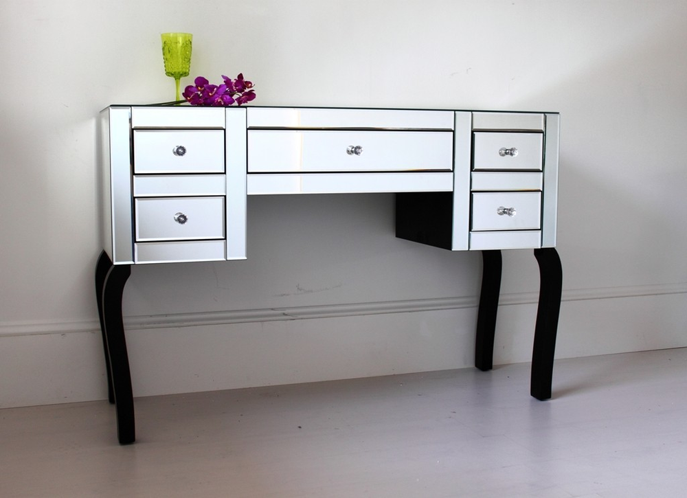 Large five drawer mirrored dressing table dressing tables for Wide dressing table