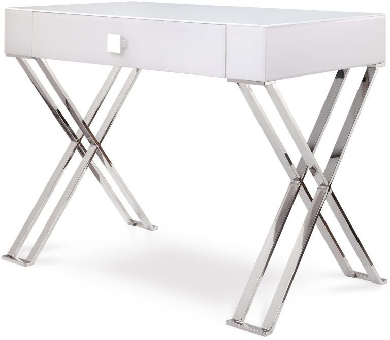 Perfect Richmond White Glass/Polished Stainless Steel Dressing/Console Table