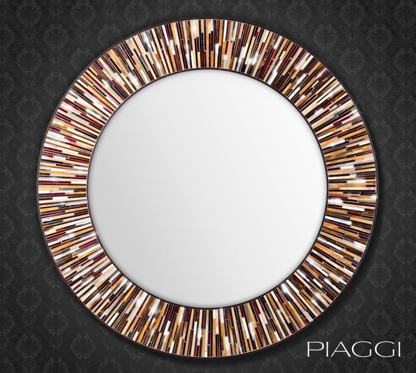 Roulette Piaggi Brown Glass Mosaic Round Mirror Mirrors