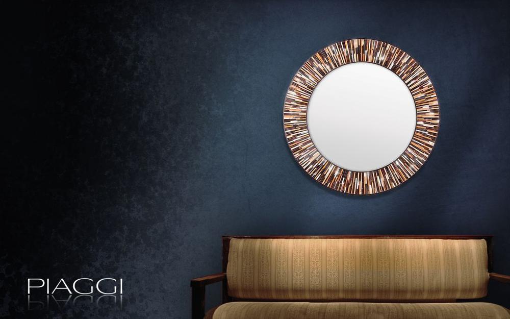 Roulette Piaggi Brown Glass Mosaic Round Mirror Mirrors
