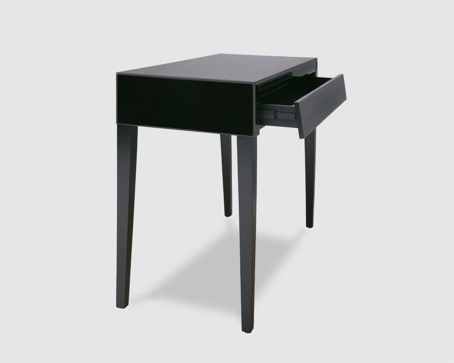 Small wooden coffee table - Black Glass Black Painted Legs Console Table Console Table Image 3