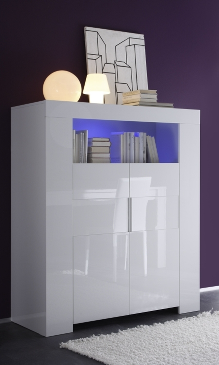 Fano High Sideboard White Gloss Lacquered With Led Spotlight Sideboards Amp Display Cabinets