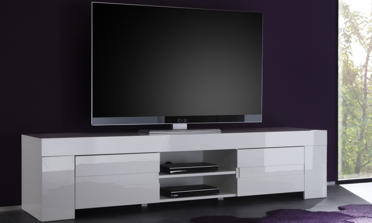 Fano long tv unit gloss white finish tv media units for Meuble audio ikea
