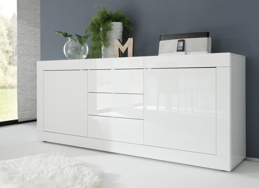 urbino collection sideboard two doors three drawers white high gloss lacquer sideboards. Black Bedroom Furniture Sets. Home Design Ideas