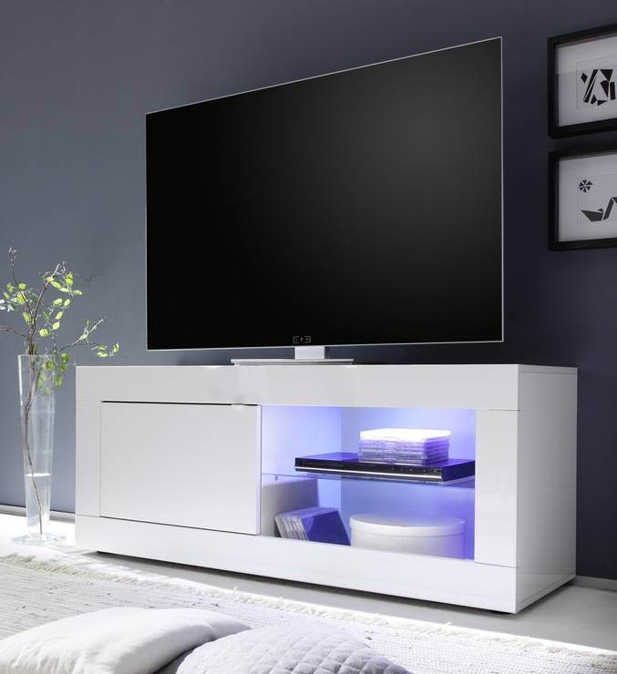 Urbino Collection Small TV Unit INCLUDING LED Spot Light High Gloss White amp Media Units