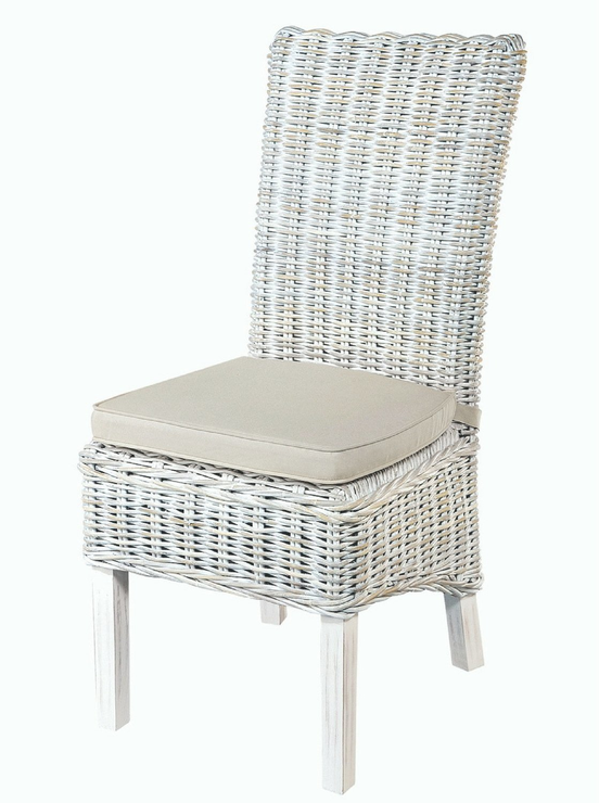 Back Rattan Dining Chair With Cushion, Wicker Rattan Dining Room Chairs
