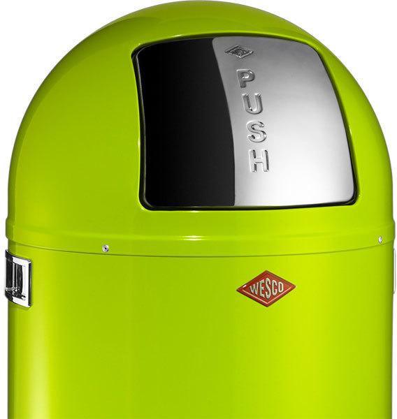 Green Kitchen Bin: Wesco Pushboy Bin (Lime Green)