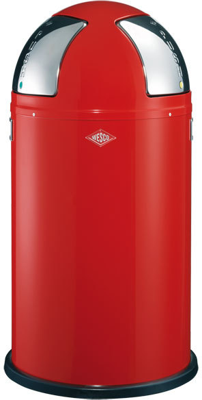 Wesco Push-Two Recycling Bin - Red | Kitchen bins
