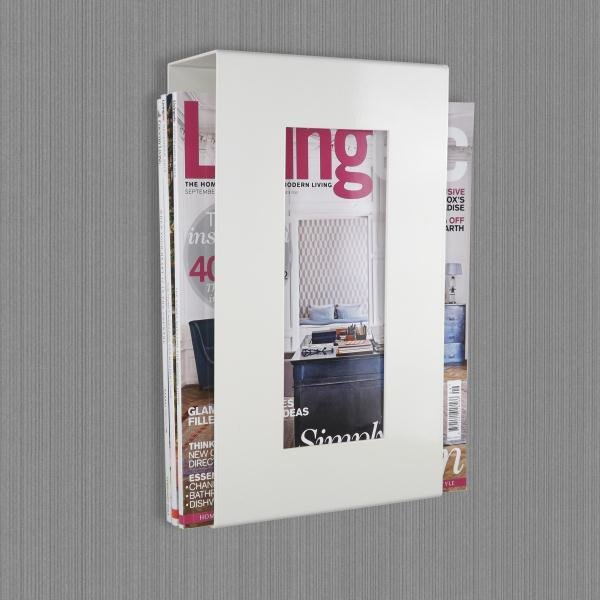 Contemporary Wall Mounted Metal Magazine Rack White