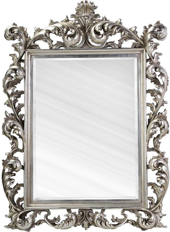Large silver rococo mirror french aged mirrors for Large portrait mirror