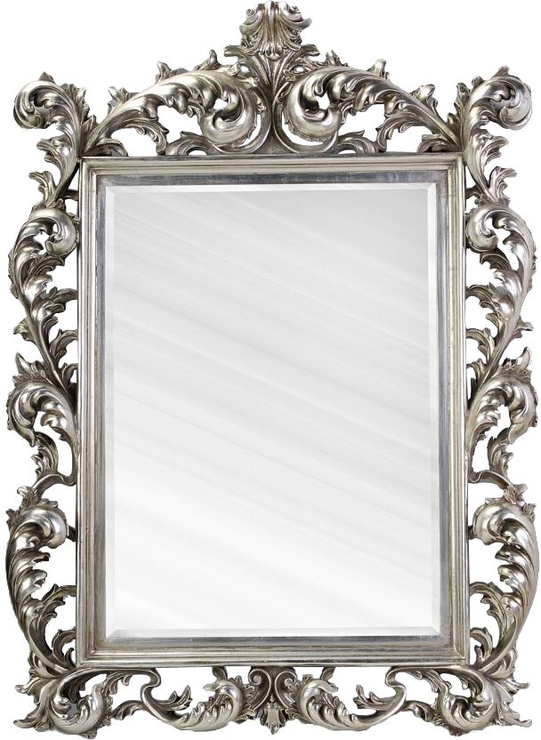 Large silver rococo mirror french aged mirrors for Large a frame
