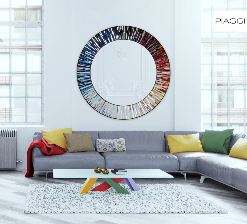 Roulette Piaggi Multicolour Glass Mosaic Round Mirror Mirrors