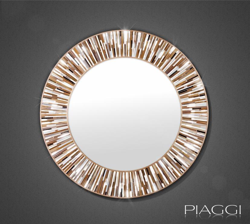 Roulette beige piaggi glass mosaic mirror mirrors for Mosaic mirror