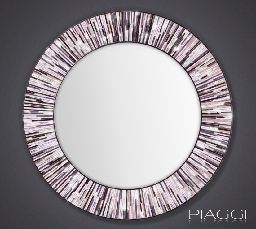 Roulette Piaggi Pink Glass Mosaic Round Mirror Mirrors