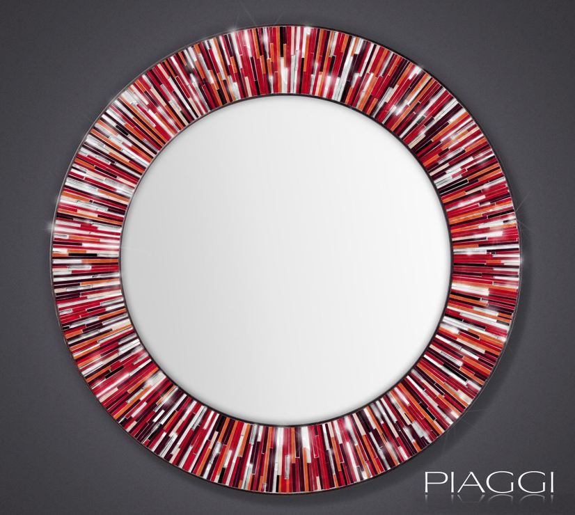 Roulette Piaggi Red Glass Mosaic Round Mirror Mirrors