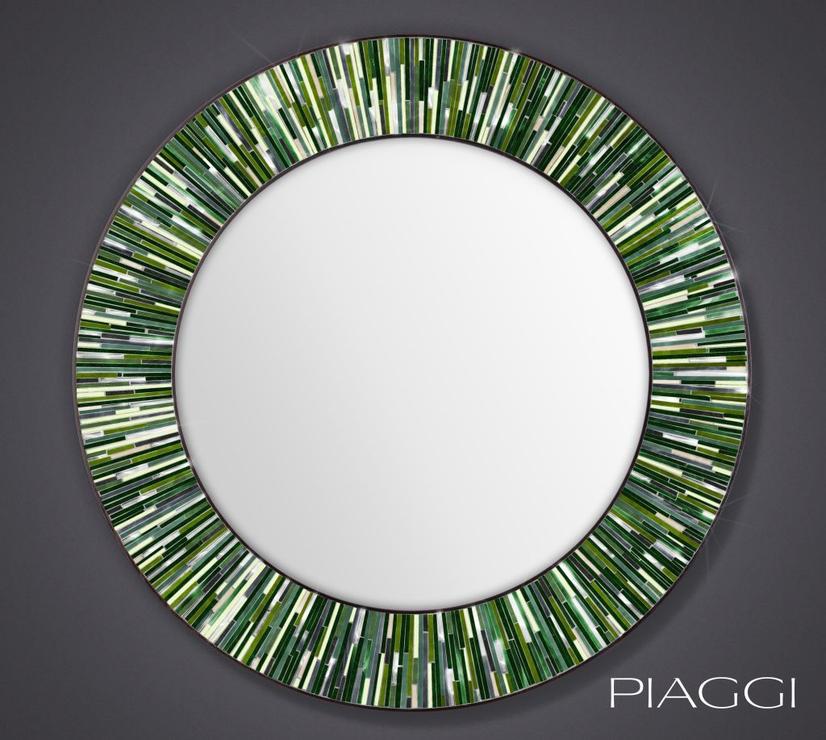 Roulette Piaggi Green Glass Mosaic Round Mirror Mirrors