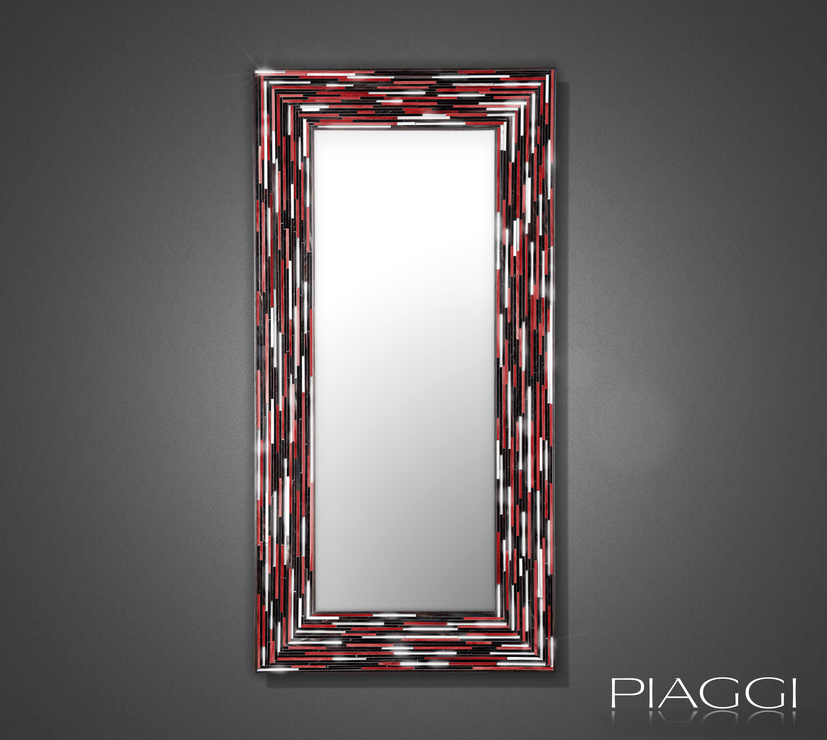 Big Q Red Modern Glass Mosaic Mirror Mirrors