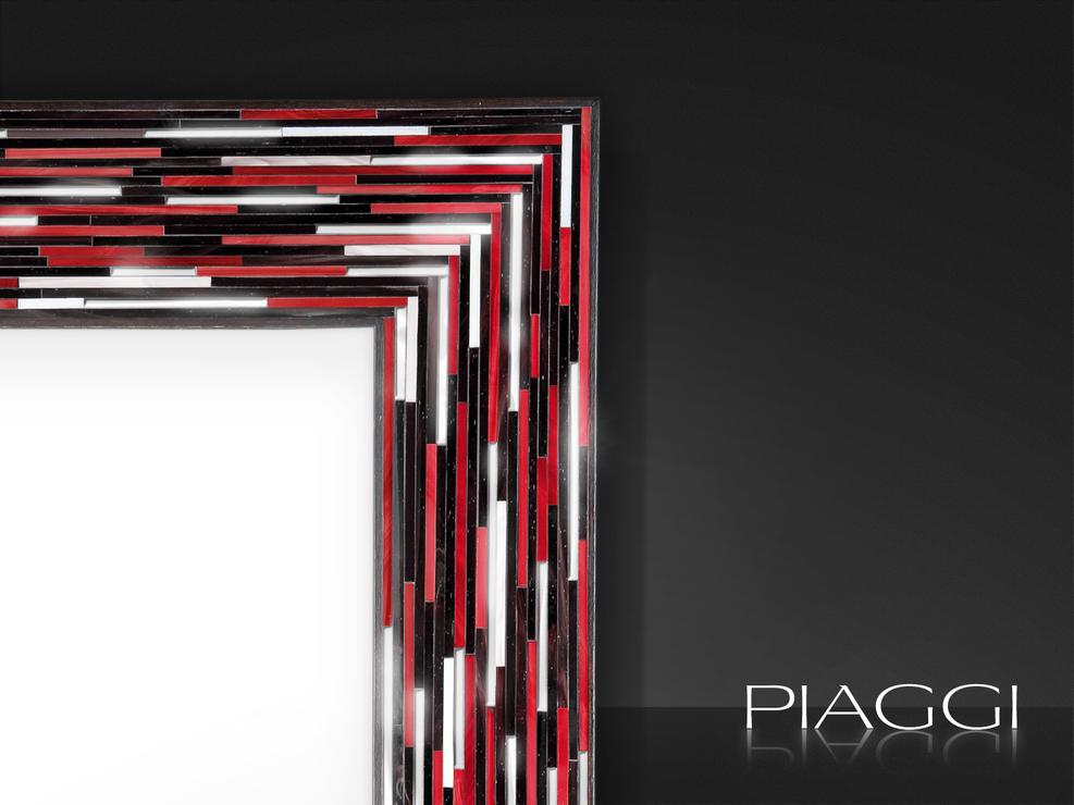 Big Q Red Modern Glass Mosaic Mirror Mirrors