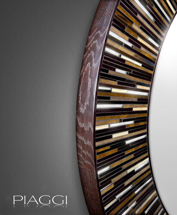 Roulette Piaggi Dark Brown Glass Mosaic Round Mirror Mirrors