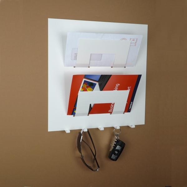 Stylish Metal Letter Rack With Key Holder White Office