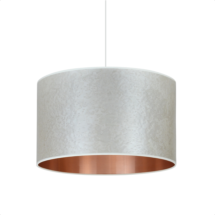 shade pendant lighting. pearl grey copper drum shade pendant lighting