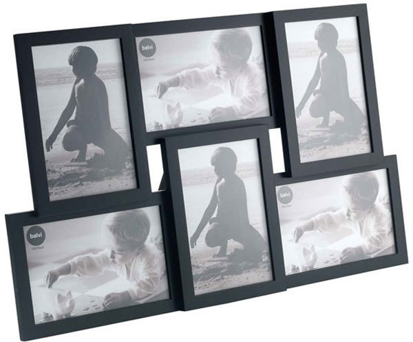 Isernia 6 multi photo frame black photo frames - Marco de fotos multiple ...