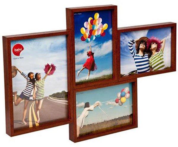Grid 4 Multi Photo Frame Dark Walnut | Photo frames