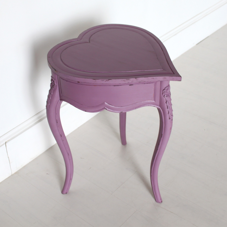 Heart Shaped Side Table Mauve With Lifting Lid