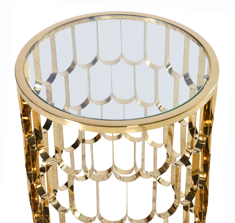Round glossy side table in gold side tables for Round gold side table