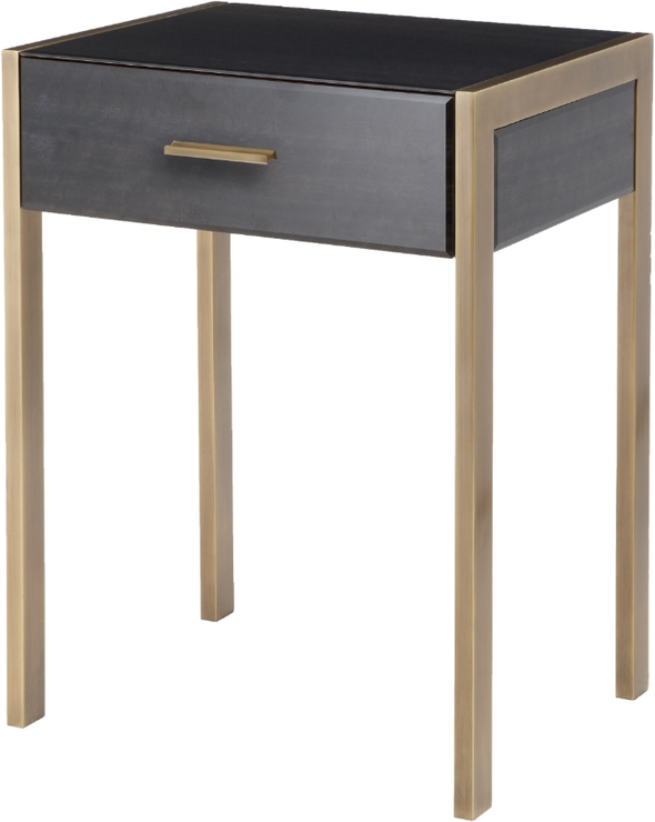 sports shoes 102cc c9ed2 Ettore Antique Brass Frame Side Table Walnut Glass