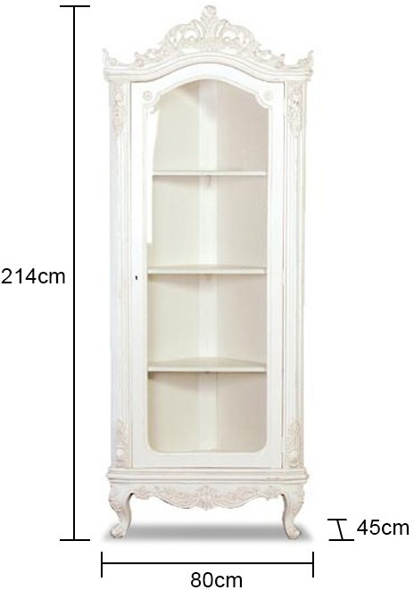 French Glazed Corner Cabinet White   Sideboards & display cabinets