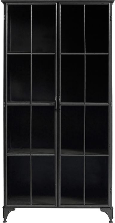 Beau Large Metal Display Cabinet Distressed With 3 Shelves