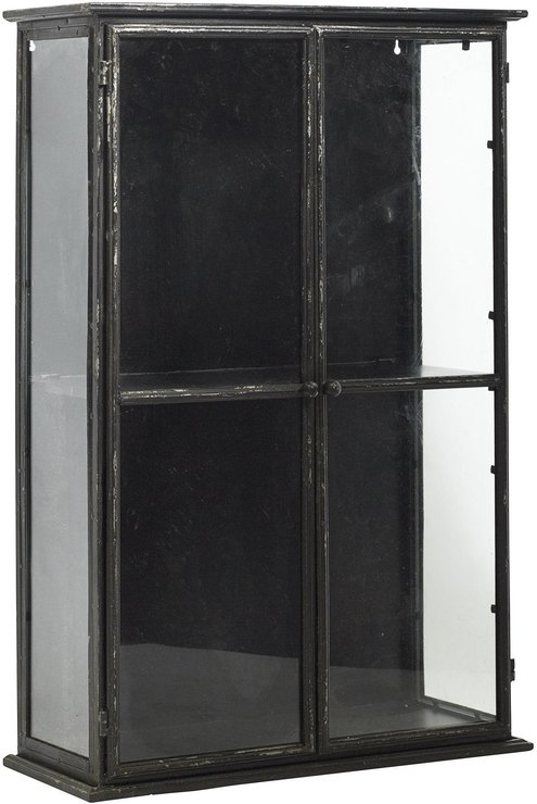 Gentil Glass Display Cabinet With Distressed Black Metal Frame