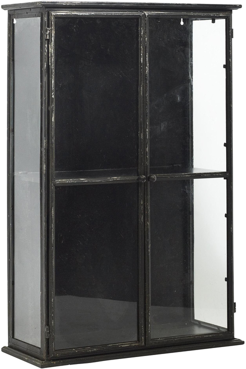 Glass Display Cabinet With Distressed Black Metal Frame By