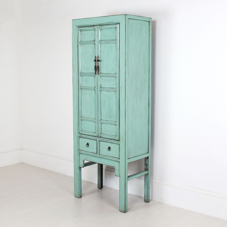 Tall Blue Distressed Cabinet 2 Door 2 Drawer | Sideboards ...