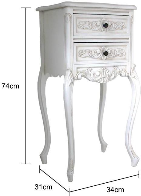 Tall Antique White Bedside Cabinet Bedside Tables