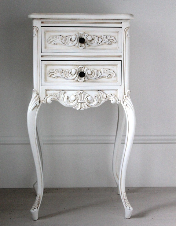 Old Bedside Table: Tall Antique White Bedside Cabinet